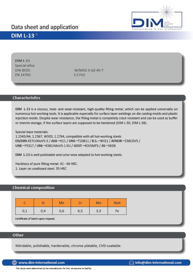 DIM L-13 data sheet laser welding wire