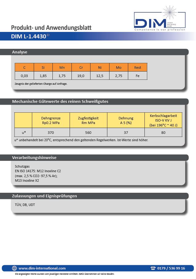 DIM Laserschweißdraht Datenblatt Cr-Ni